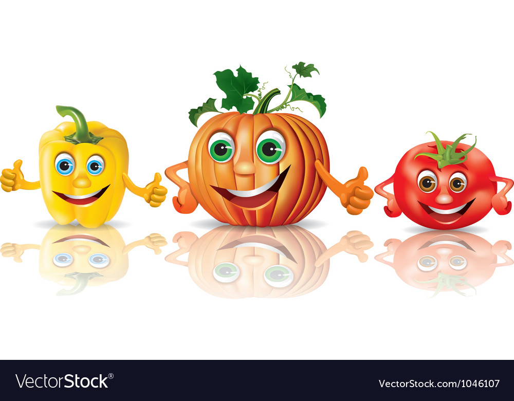 Funny vegetables paprika pumpkin tomato vector | Price: 3 Credit (USD $3)