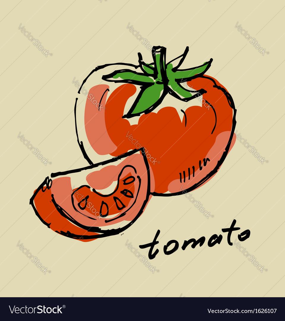Hand drawn tomato vector | Price: 1 Credit (USD $1)