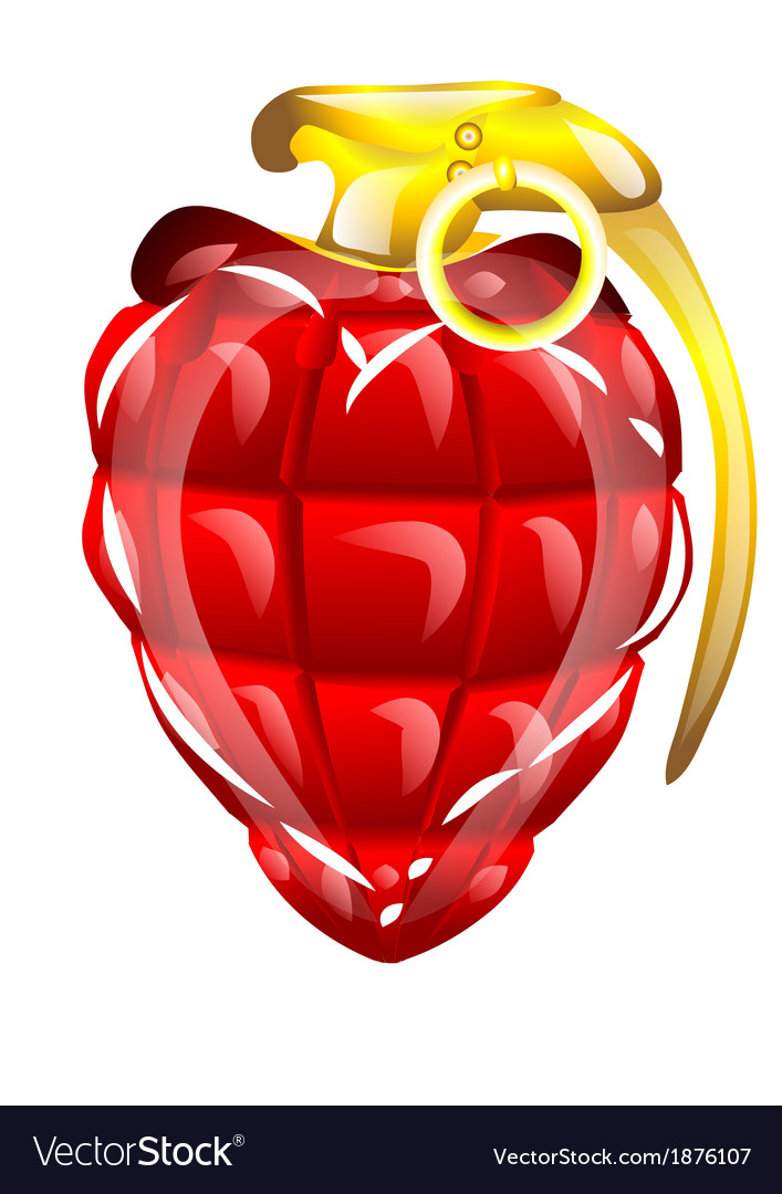Hand grenade in a heart shape vector | Price: 1 Credit (USD $1)