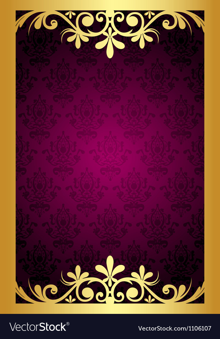 Maroon frame with gold ornament vector | Price: 1 Credit (USD $1)