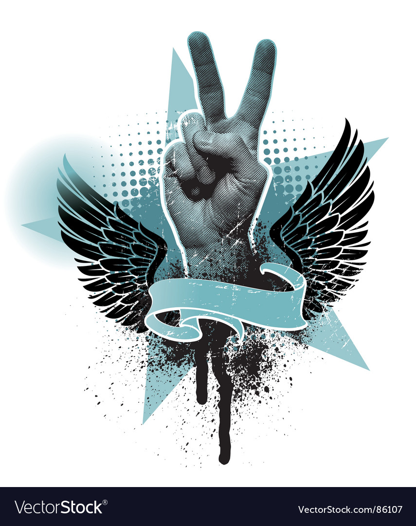 Peace hand sign vector | Price: 1 Credit (USD $1)
