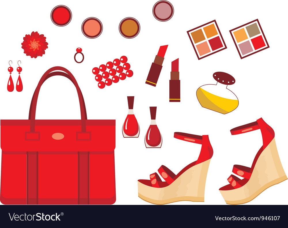 Set of red accessories vector | Price: 1 Credit (USD $1)