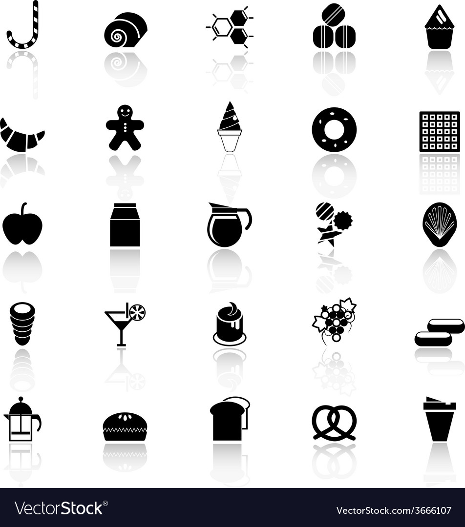 Sweet food icons with reflect on white background vector | Price: 1 Credit (USD $1)