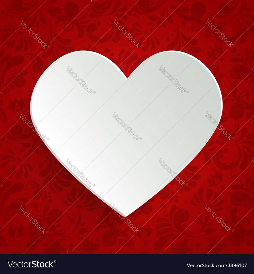 Valentines day greeting card with paper cut heart vector | Price: 1 Credit (USD $1)