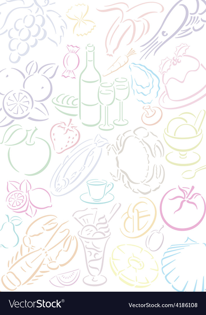 Background transparent food symbols vector | Price: 1 Credit (USD $1)