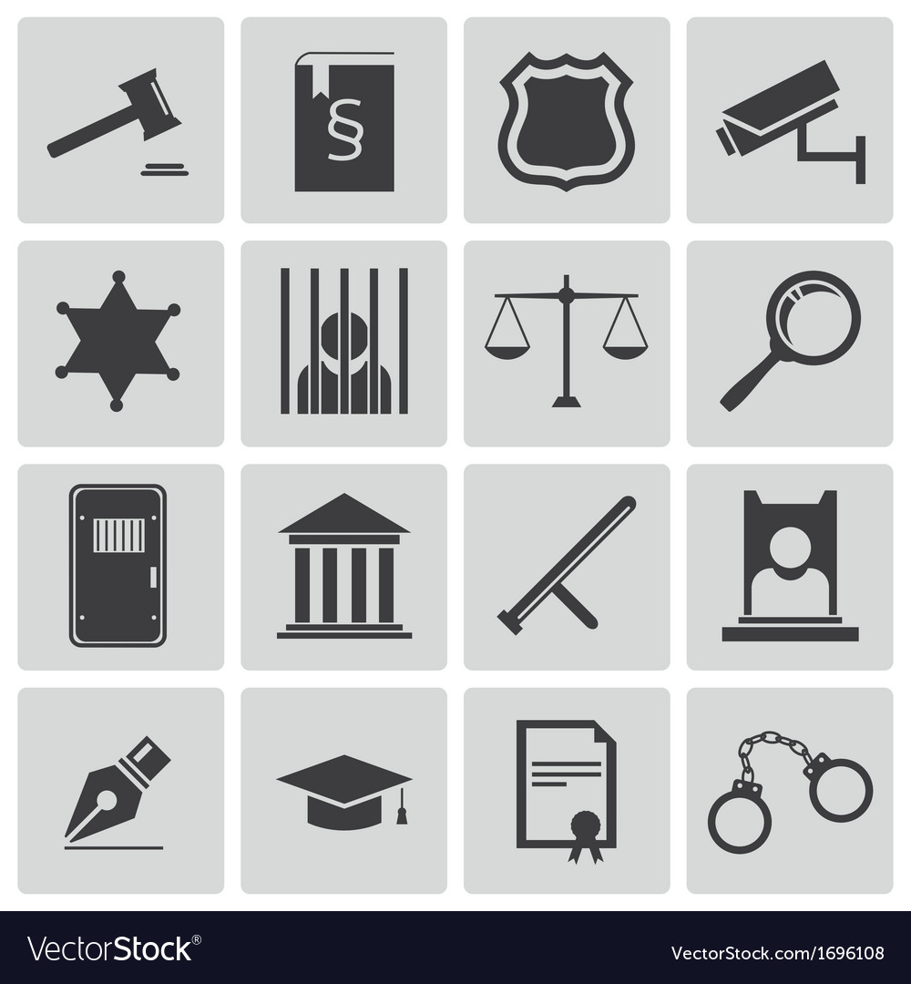 Black justice icons set vector | Price: 1 Credit (USD $1)