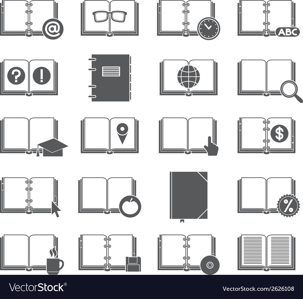 Books and symbols icons set vector | Price: 1 Credit (USD $1)