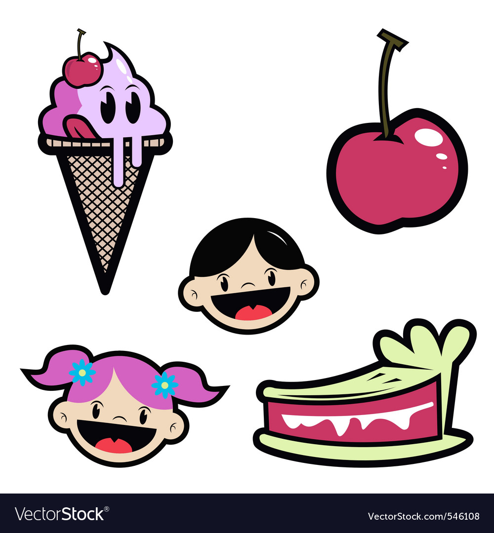 Cartoon drawing of isolated objectsice creamcherry vector | Price: 1 Credit (USD $1)
