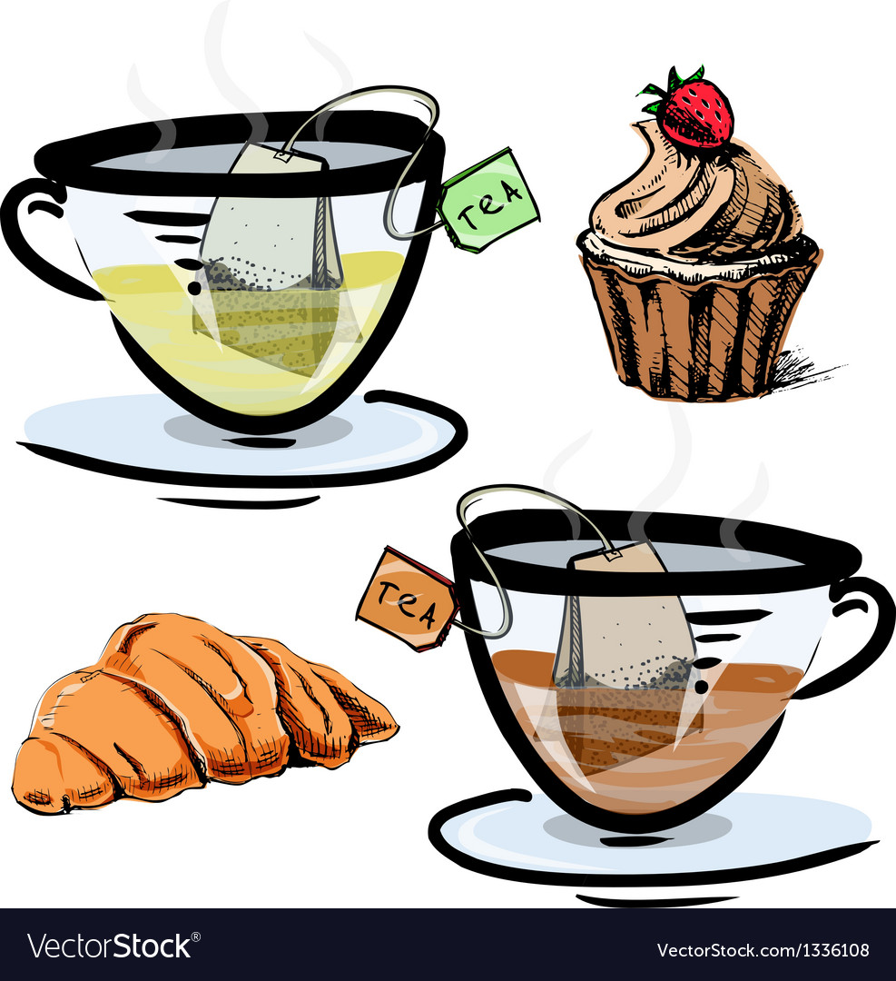 Green and black tea in glass cups with sweets vector | Price: 3 Credit (USD $3)