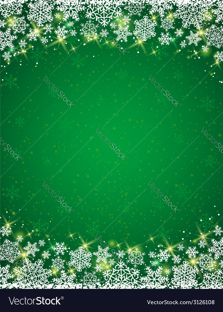 Green background with frame of snowflakes vector | Price: 1 Credit (USD $1)