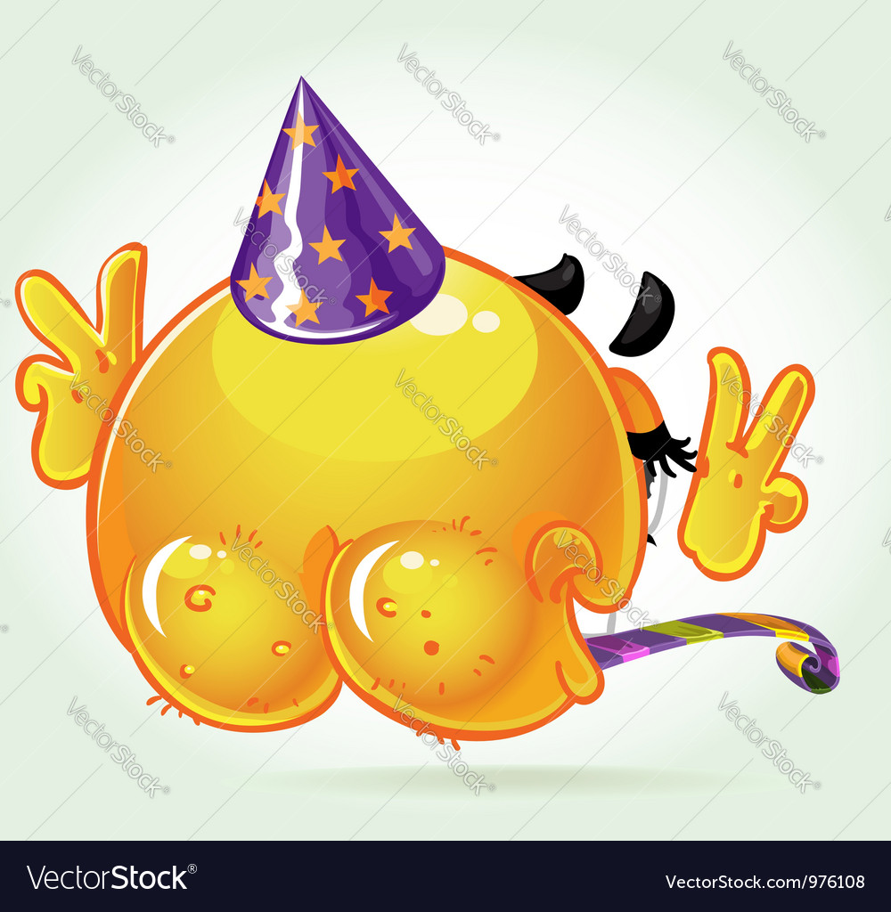 Lost shame smile birthday naked in a festive hat vector | Price: 3 Credit (USD $3)