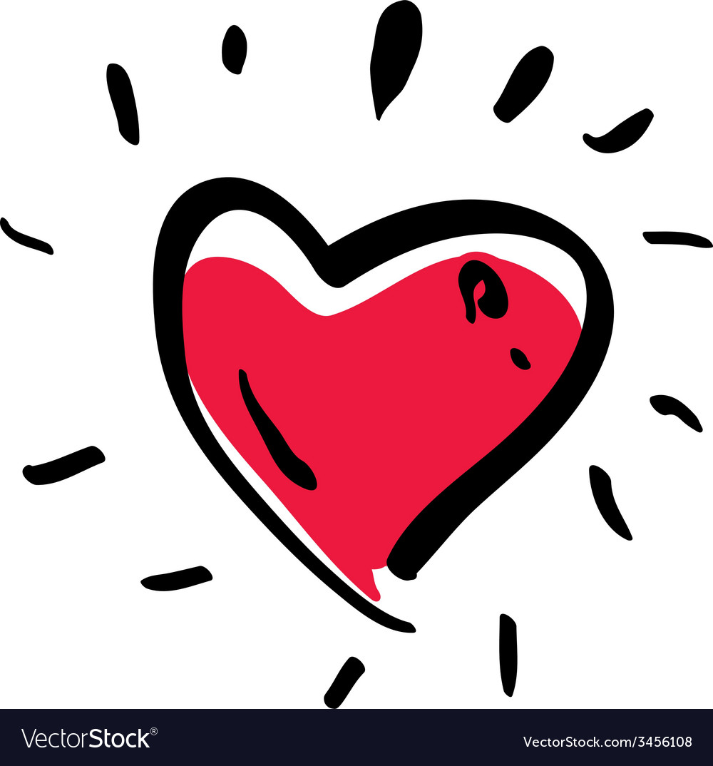 Red love heart isolated on white background vector | Price: 1 Credit (USD $1)