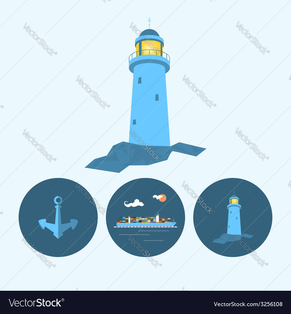 Set icon with lighthouse anchor container ship vector | Price: 1 Credit (USD $1)