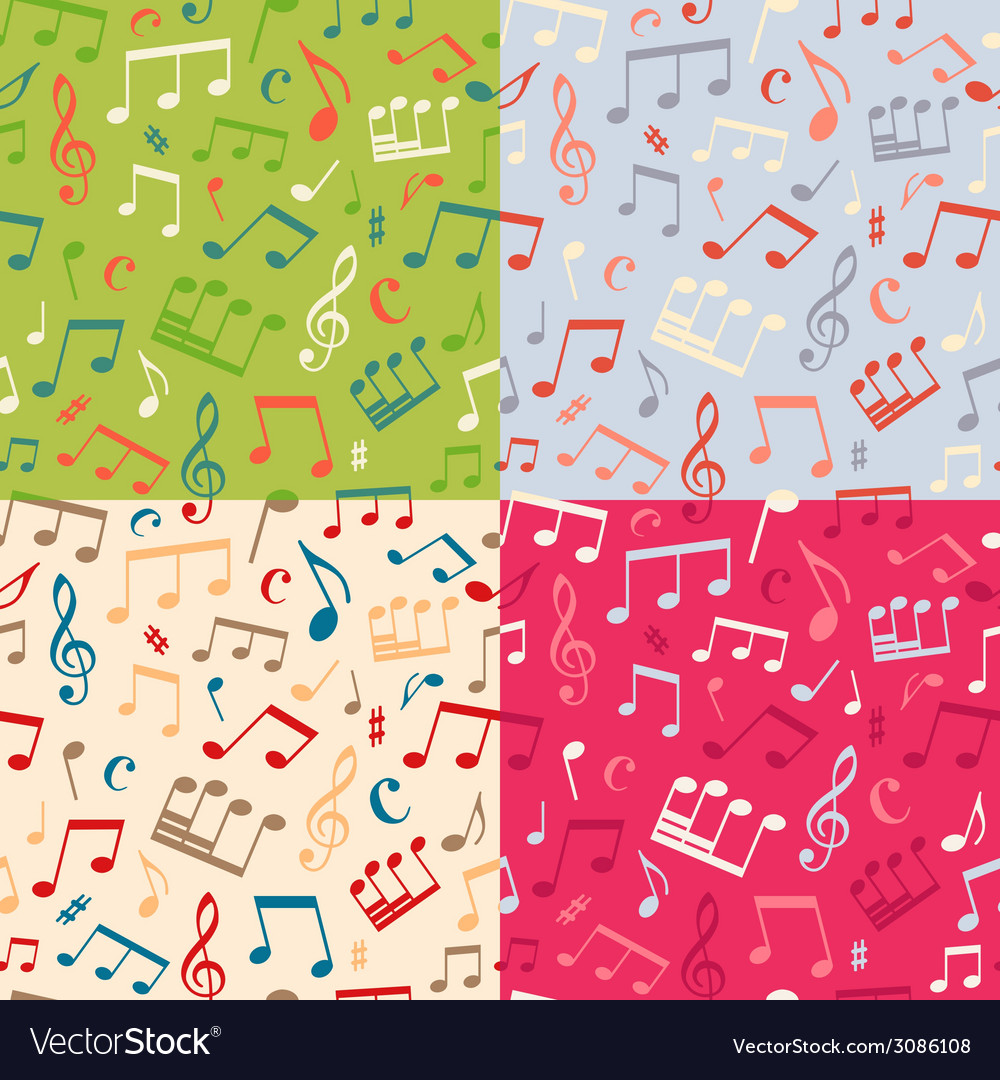 Set of seamless music patterns vector | Price: 1 Credit (USD $1)