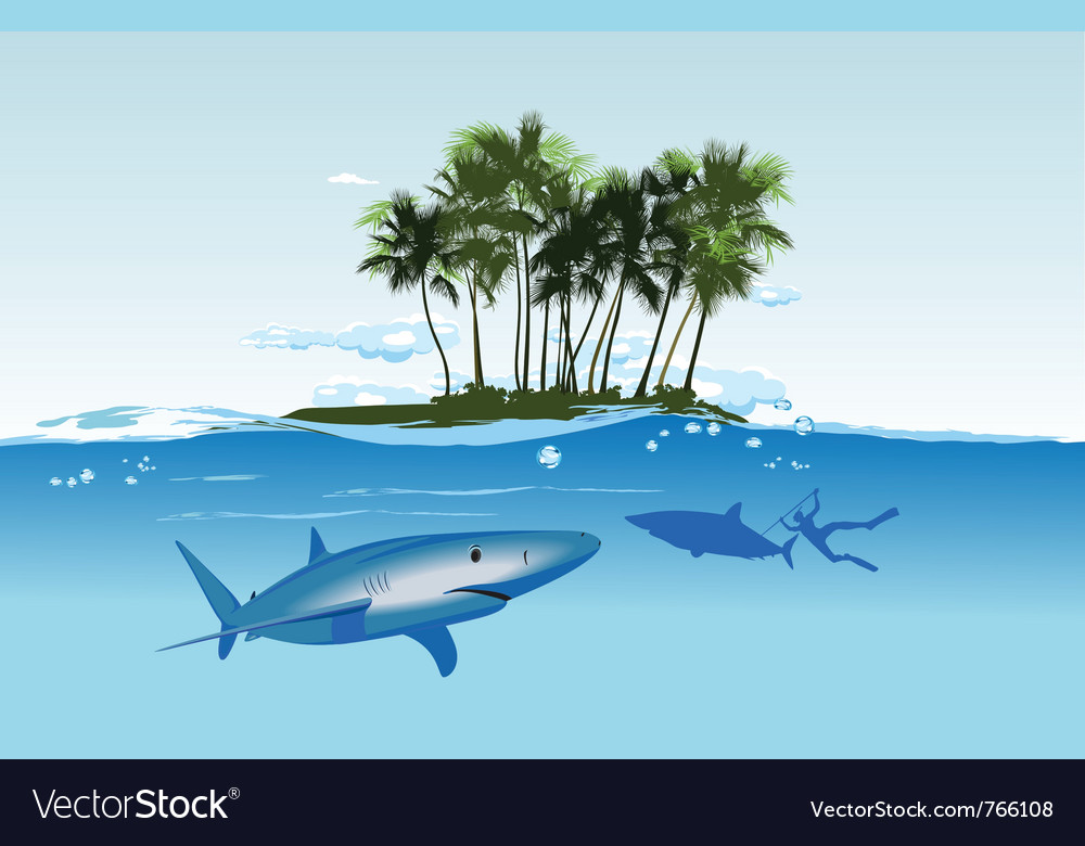 Shark island daylight vector | Price: 3 Credit (USD $3)