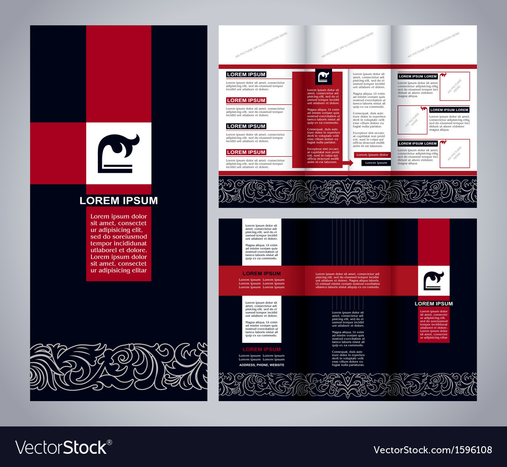 Vintage brochure template design blue and red vector | Price: 1 Credit (USD $1)
