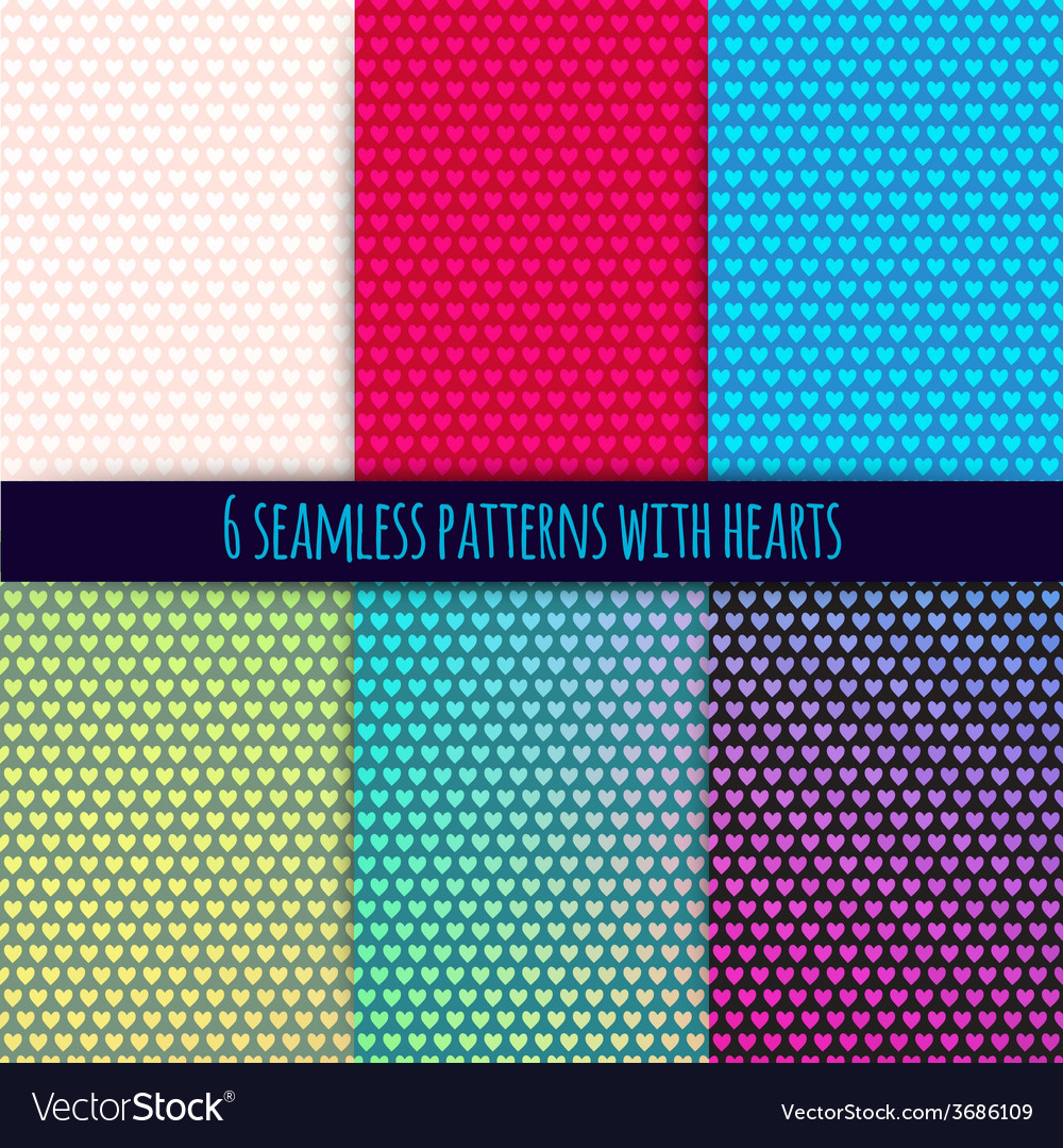 6 seamless patterns with hearts easy tiling can be vector | Price: 1 Credit (USD $1)