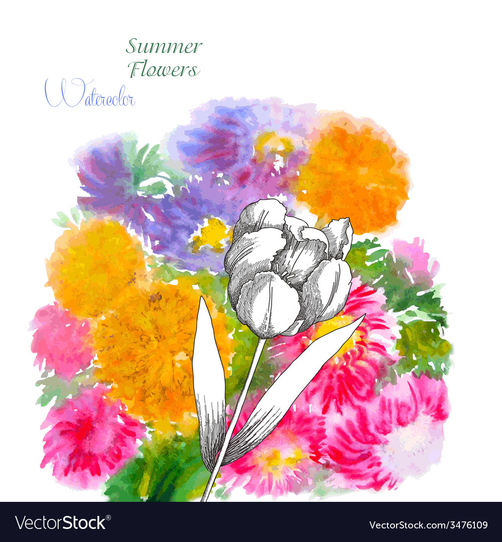 Background with summer flowers and watercolors-01 vector | Price: 1 Credit (USD $1)