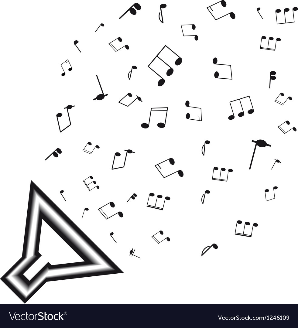 Dynamic black silhouette with notes a isolated on vector | Price: 1 Credit (USD $1)
