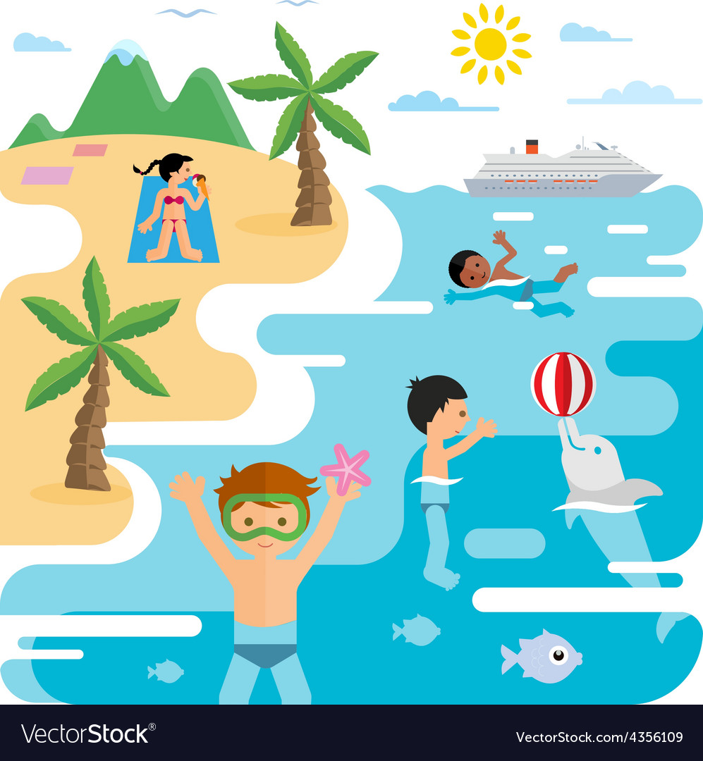 Flat of sea and young people at the beach vector | Price: 1 Credit (USD $1)