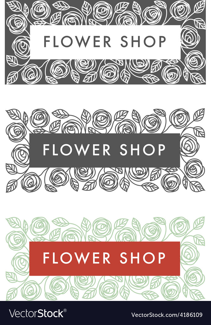 Flower shop florist labels vector | Price: 1 Credit (USD $1)