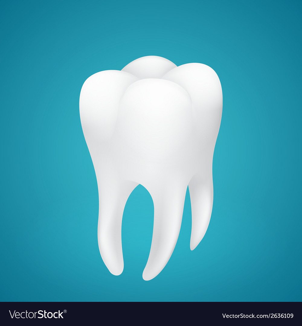 Healthy human tooth on blue background vector | Price: 1 Credit (USD $1)