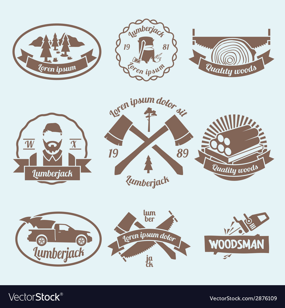 Lumberjack woodcutter label vector | Price: 1 Credit (USD $1)