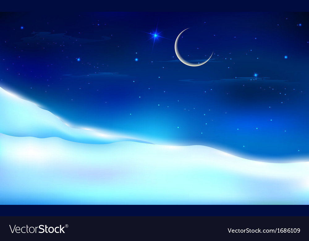 Snowy night landscape vector | Price: 1 Credit (USD $1)