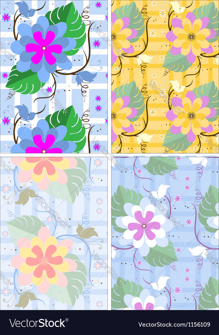 Variations seamless background with flowers and bu vector | Price: 1 Credit (USD $1)