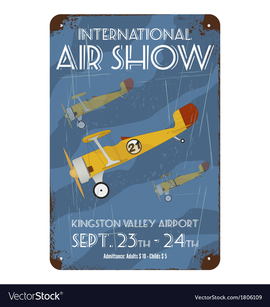Vintage air show poster design vector | Price: 1 Credit (USD $1)