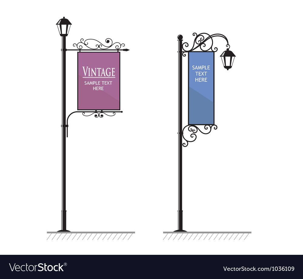 Vintage lamp post sign vector | Price: 1 Credit (USD $1)