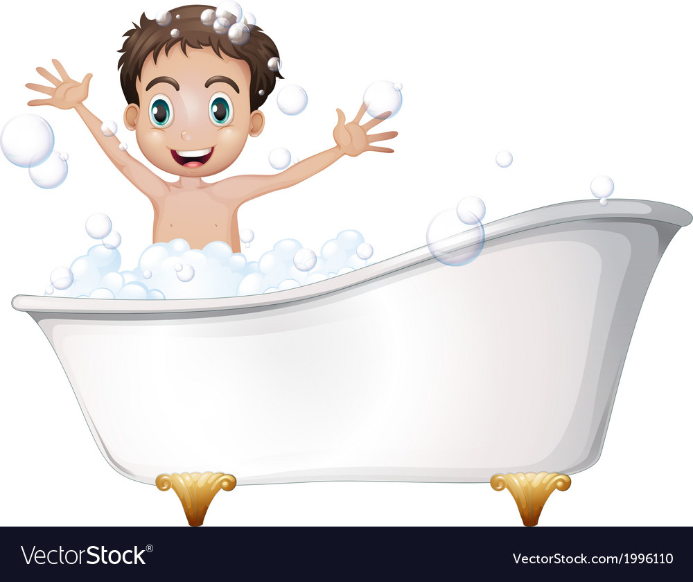 A little boy at the bathtub vector | Price: 1 Credit (USD $1)