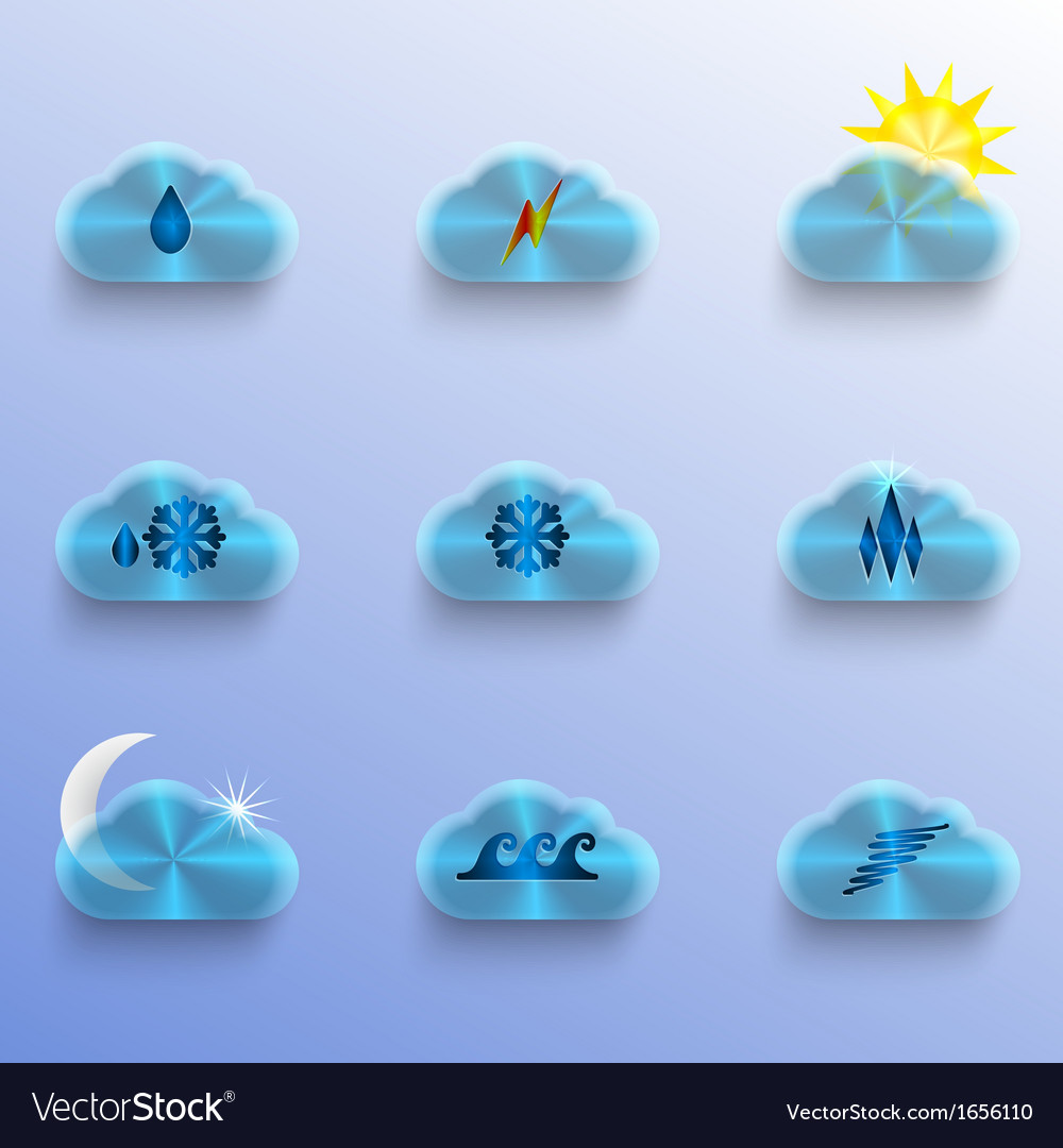 Blue clouds with weather signs vector | Price: 1 Credit (USD $1)