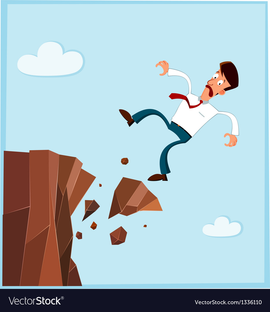 Businessman falling from the side of cliff prev vector | Price: 1 Credit (USD $1)
