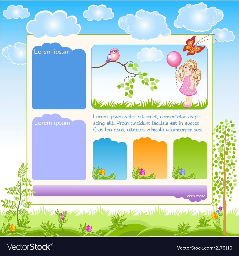Cartoon kid web template vector | Price: 1 Credit (USD $1)