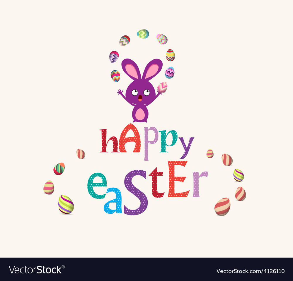 Easter bunny playful cute eggs fun humor card vector | Price: 1 Credit (USD $1)