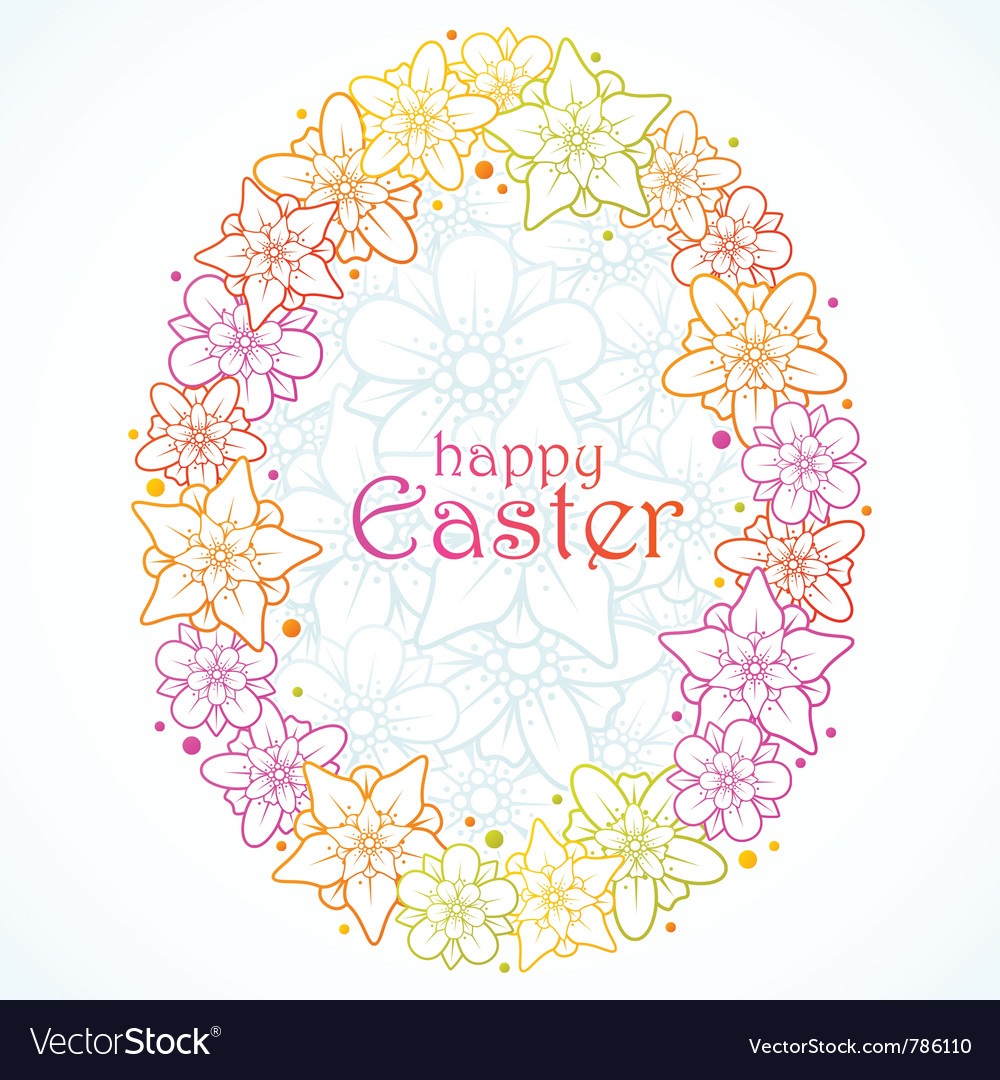 Floral greeting card of easter egg vector | Price: 1 Credit (USD $1)