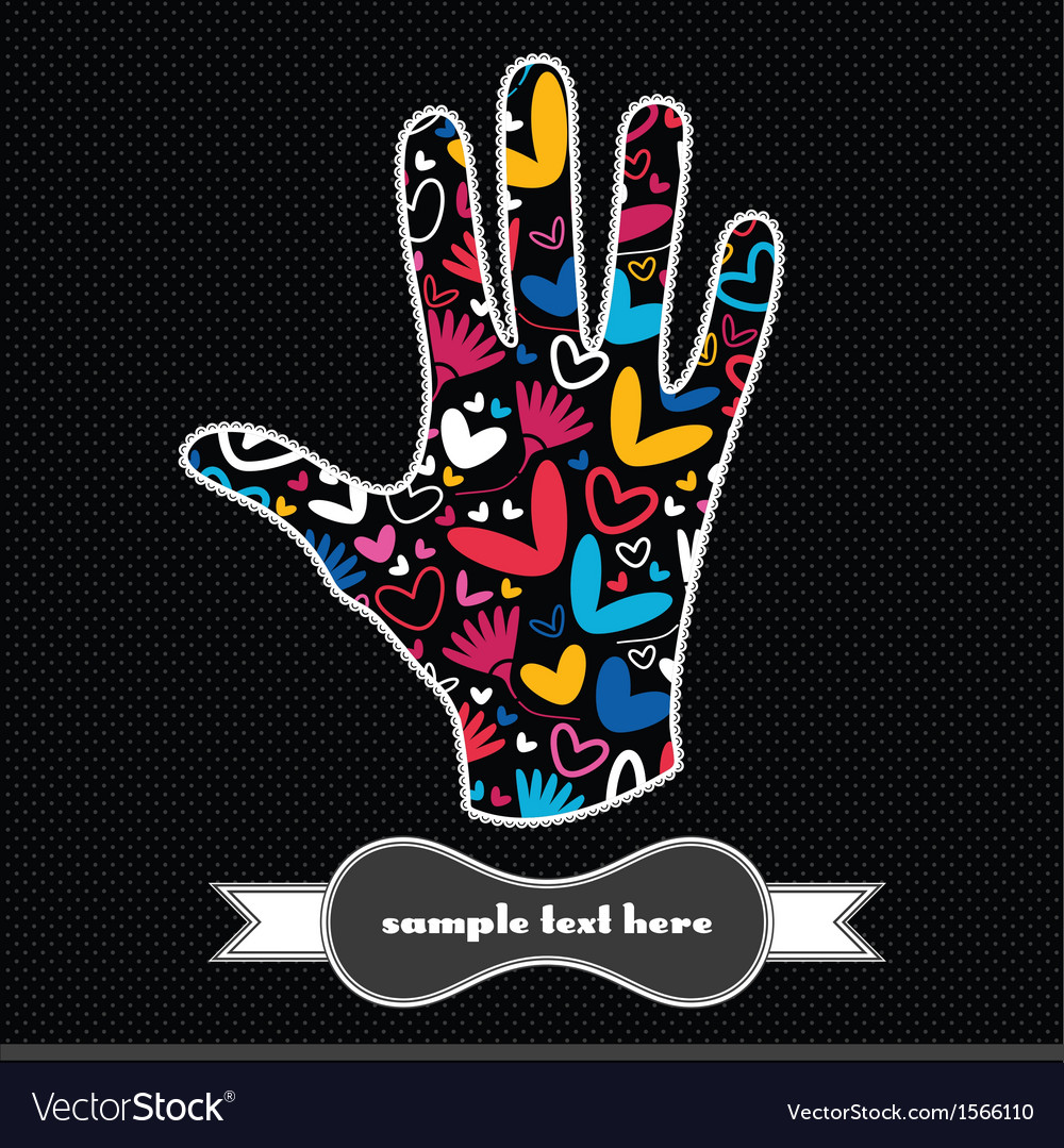 Hearts and flowers on the handprint vector | Price: 1 Credit (USD $1)