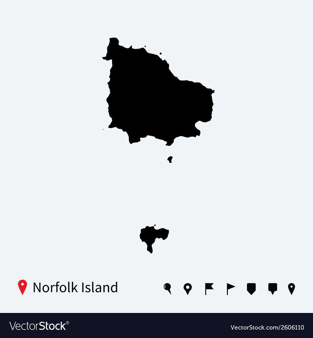 High detailed map of norfolk island with vector | Price: 1 Credit (USD $1)