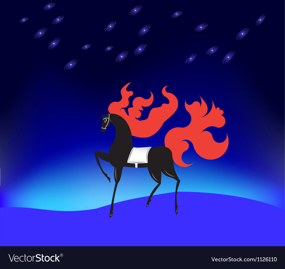 Horse with a fiery mane under the stars vector | Price: 1 Credit (USD $1)