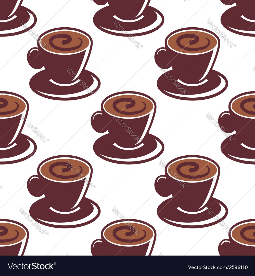 Seamless pattern of cups of hot cappuccino vector | Price: 1 Credit (USD $1)