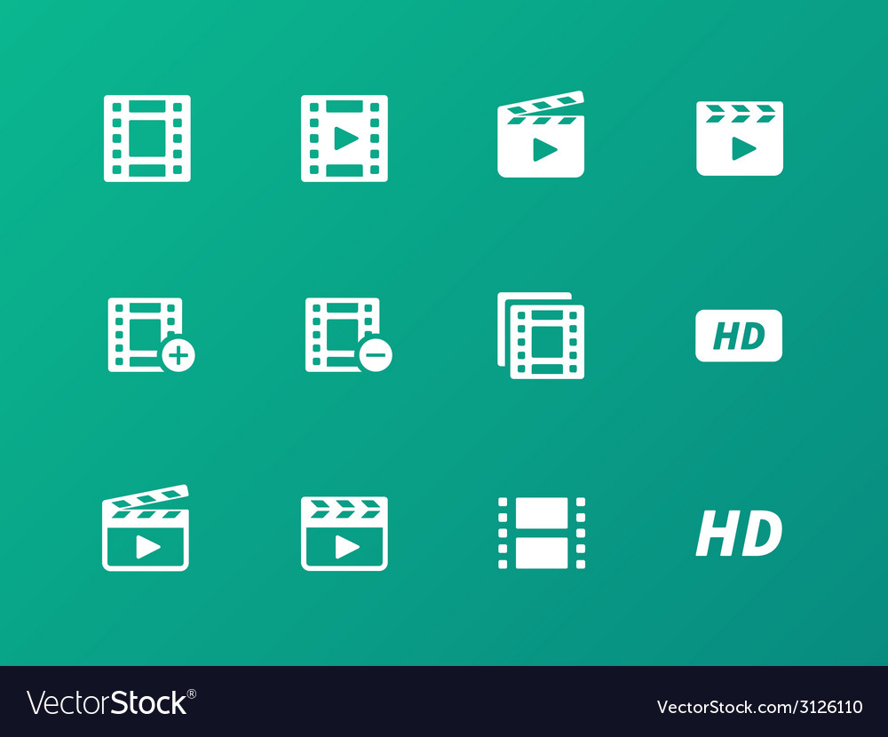 Video icons on green background vector | Price: 1 Credit (USD $1)