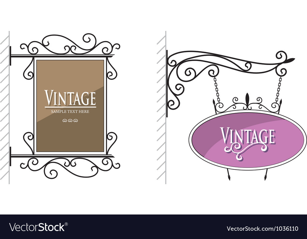 Vintage wall post sign vector | Price: 1 Credit (USD $1)