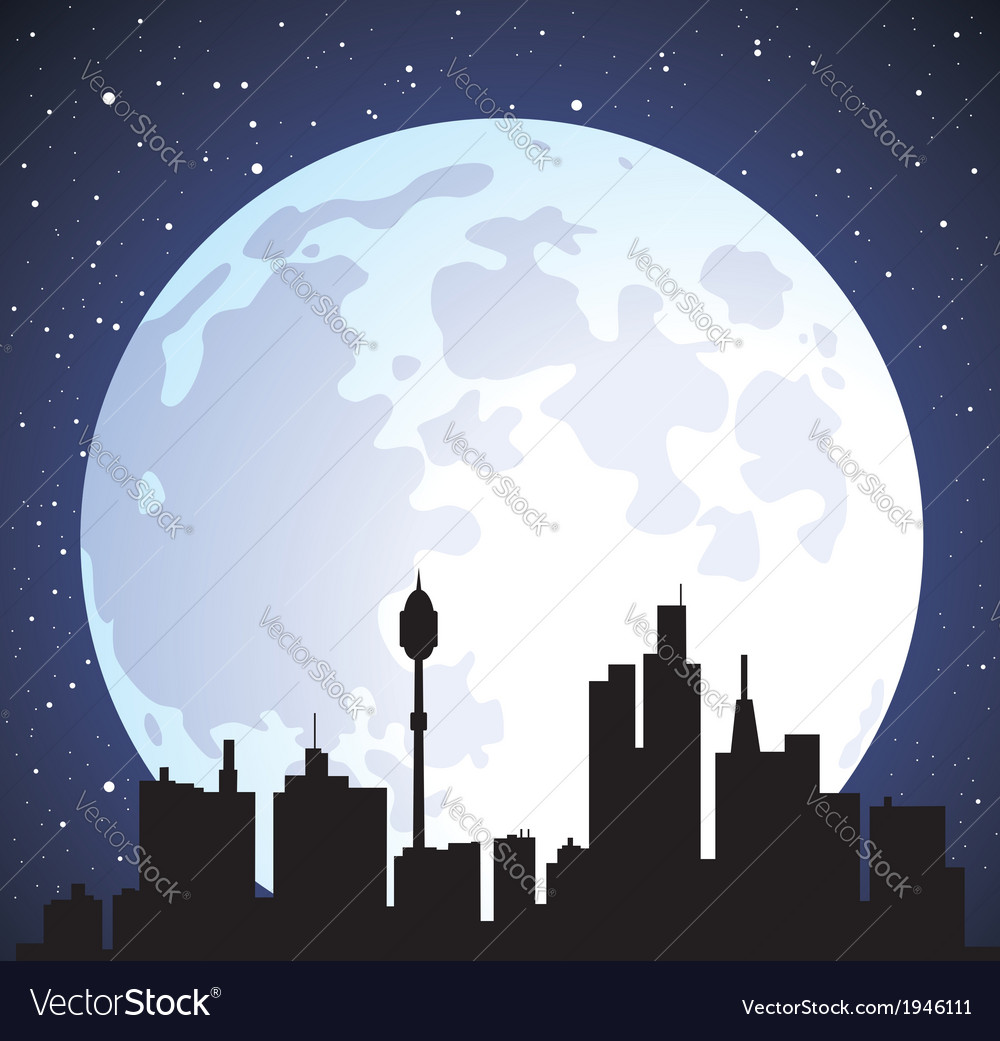 Building silhouettes and moon vector | Price: 1 Credit (USD $1)