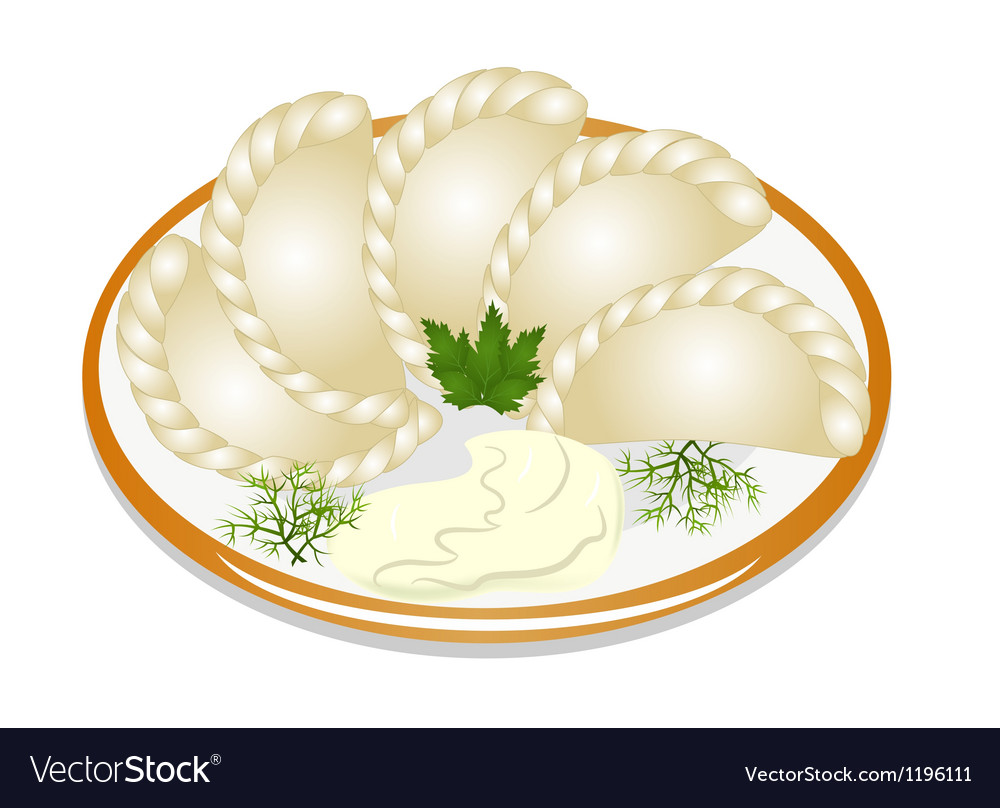 Dumplings with sour cream on the plate vector | Price: 1 Credit (USD $1)