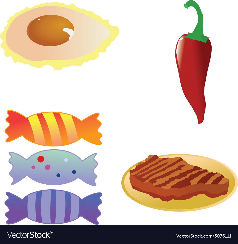 Fried eggred hot chili pepperroast steakcandies on vector | Price: 1 Credit (USD $1)