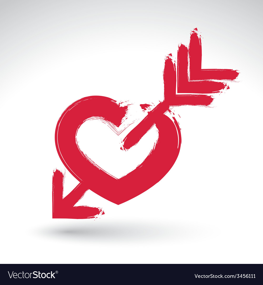 Hand drawn red love heart icon brush drawing vector | Price: 1 Credit (USD $1)