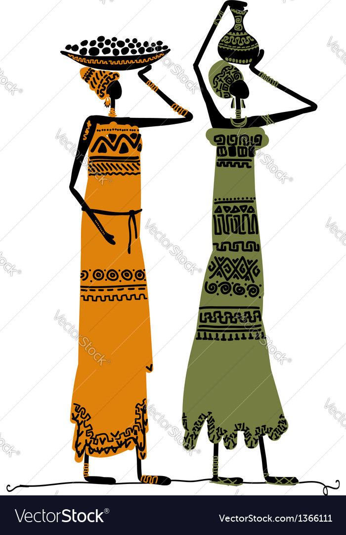 Hand drawn sketch of ethnic women with jugs vector | Price: 1 Credit (USD $1)