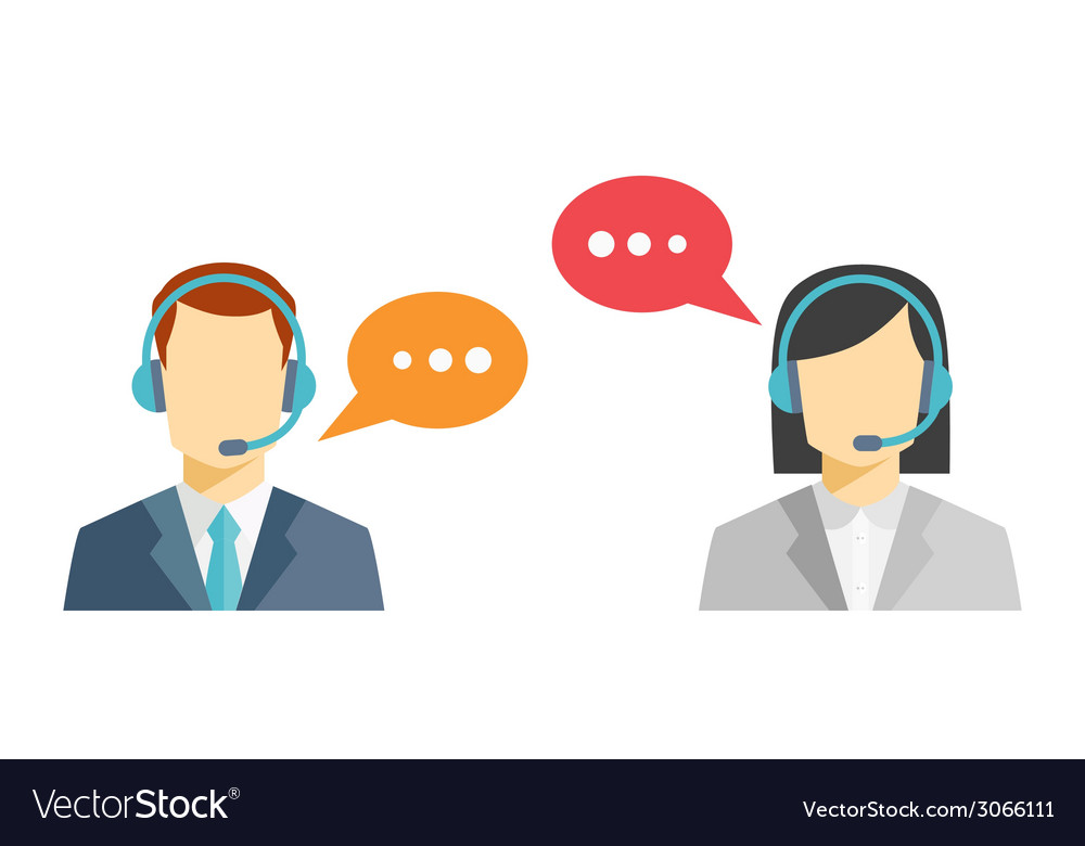 Male and female call center avatar icons vector | Price: 1 Credit (USD $1)