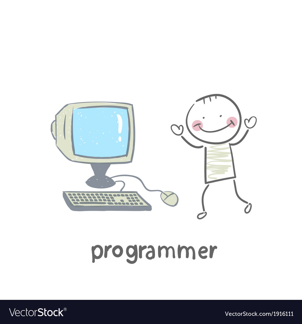 Programmer stands next to the computer vector | Price: 1 Credit (USD $1)